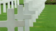 White crosses ligned on the cemetery in Normandy video
