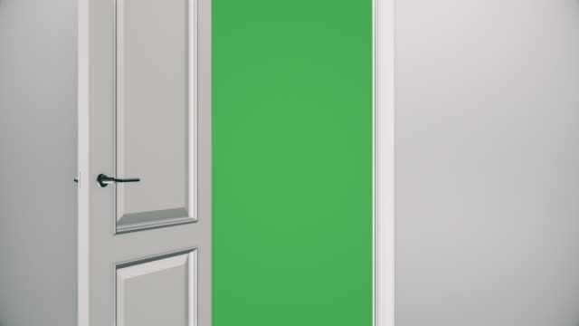 White Door Opening to Green Screen - Empty Room | 4K video