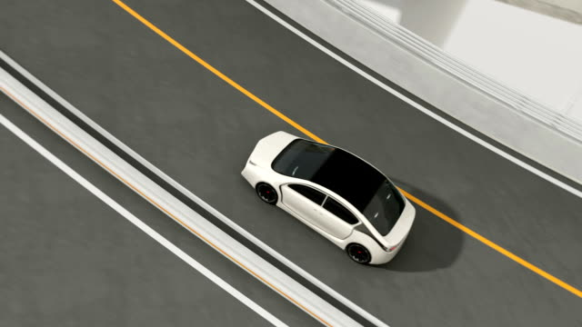 White electric car driving on loop bridge video