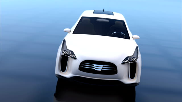 White electric SUV on blue glossy background video