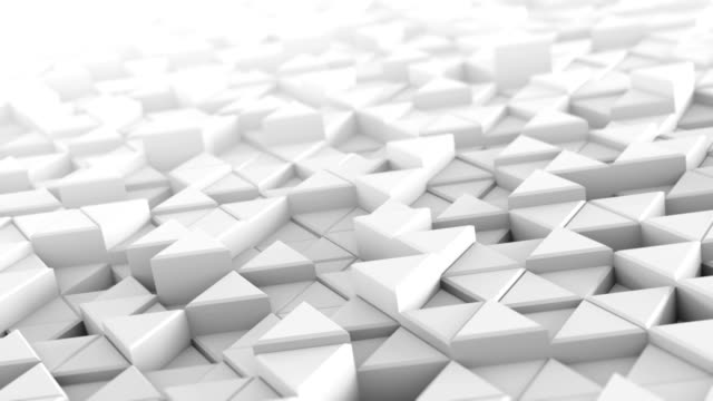 White extruded triangles abstract 3D render loopable video