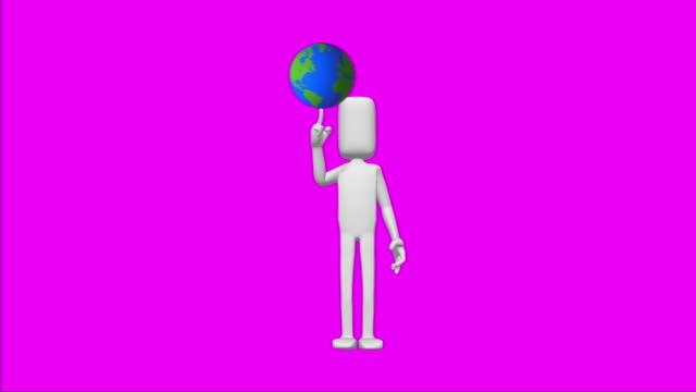 White figure with globe video