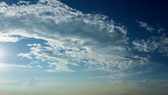 White fluffy clouds in the blue sky video