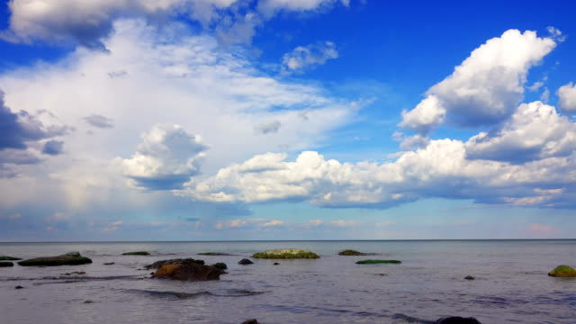 White Fluffy Clouds over the Sea. video