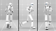 White futuristic robot jogging indoor. Front, Side and Back view video