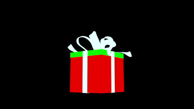 White gift box with red ribbon opening video