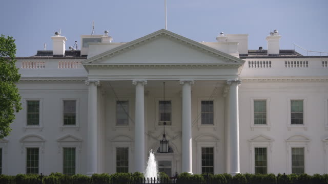 White House North Facade Close Up in Washington, DC in 4k/UHD video