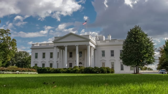 White House North Facade Lawn Washington, DC in 4k/UHD - Zoom In video