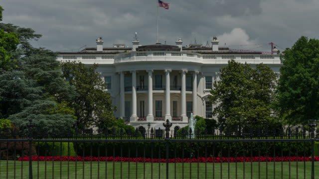 White House South Lawn Washington, DC. Zoom In Time Lapse in 4k/UHD video