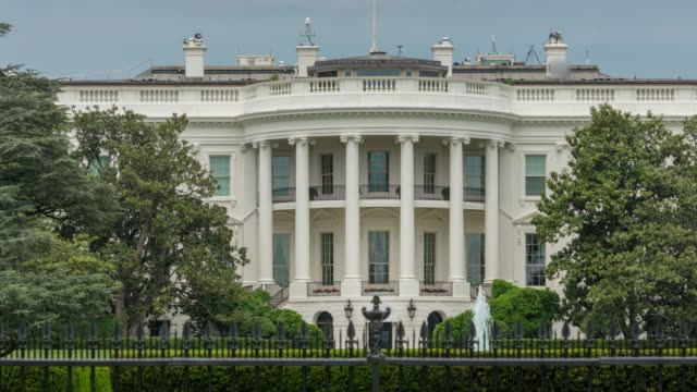 White House South Lawn Washington, DC - Zoom Out - in 4k/UHD video