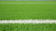 White line of the soccer field. Close-up horizontal slider shot video