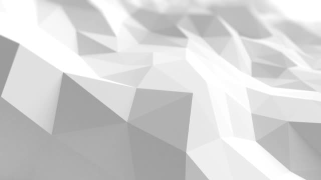 White Low Poly Surface Waving in Abstract 3d Animation. Seamless Background in 4k, Ultra HD. video