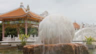 White marble sphere fountain video