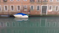 White motor boat, canal in Venice, Italy. Reflection in water video