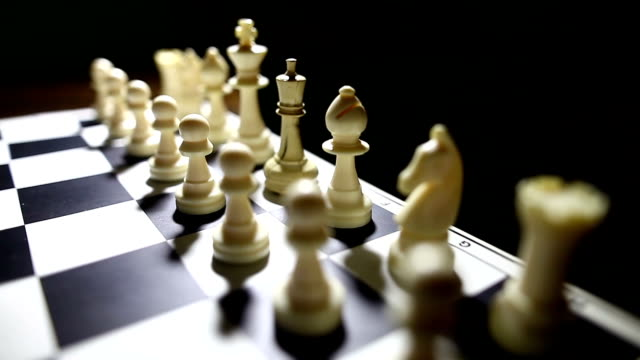 White pieces on a chess board video