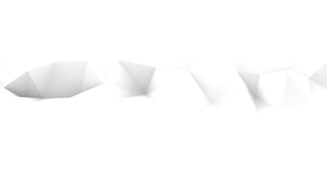 White polygonal surface waving seamles loop 3D render video