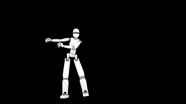 White robot, crazy dance, black background, part 1 of three video