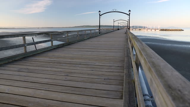 White Rock Pier Morning dolly shot video