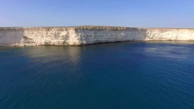 White rocky cliffs of sea coast, aerial video video
