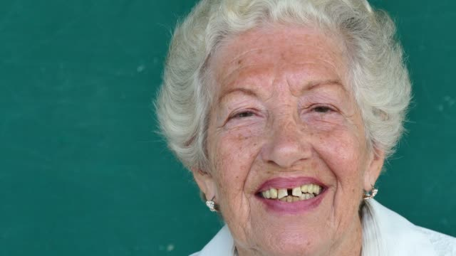 16 White Senior People Portrait Happy Old Woman Smiling Face video