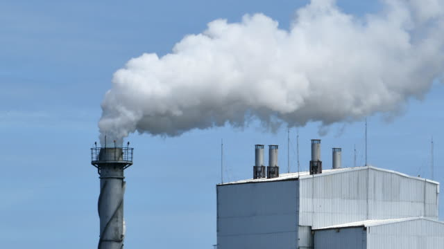 White smoke from factory plant. video