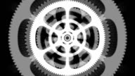 White Spinning Gears Loop on Black Background video
