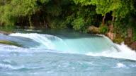 White splashes of waterfall. video