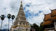 White Triangle Pagoda at ancient buddhist temple at Wiang Kum Kam timelapse, Chiangmai Thailand. video