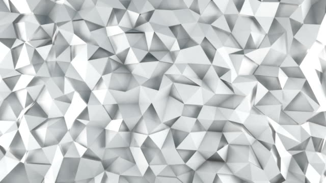 White triangle polygons surface waving loopable 3D render video