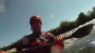 White water kayaking, POV camera video