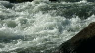 White water river detail, slow motion video