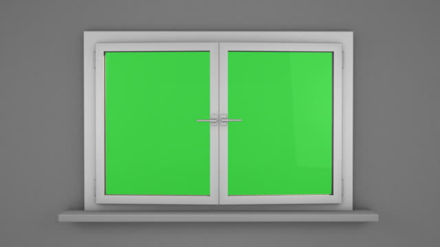 White window with green screen video