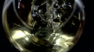 White wine being poured into a wineglass, bubble, bottom view, black, closeup, slowmotion video