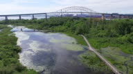 Whitefish Island and bridge to Canada in Sault Ste Marie, Ontario video