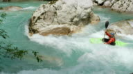 HD: Whitewater Kayaker Paddling Against River Current video