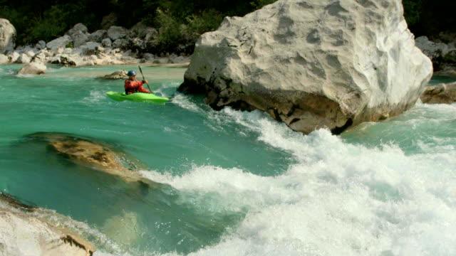 HD: Whitewater Kayaker Running The Rapid video