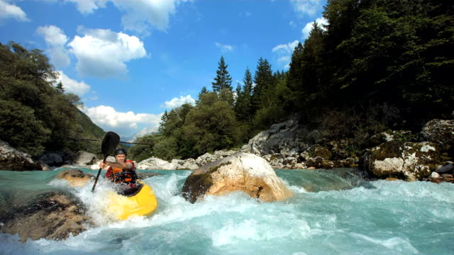 HD SLOW MOTION: Whitewater Kayaker Running The Slalom Course video