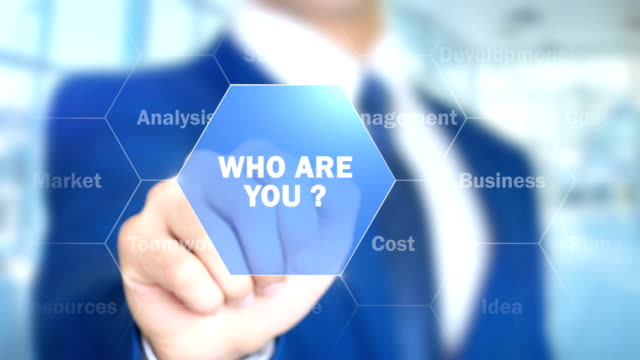 Who Are You ?, Businessman working on holographic interface, Motion Graphics video