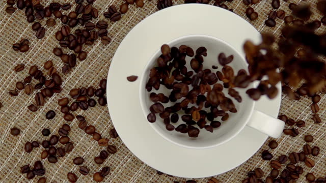 Whole Coffee Beans  Falling into the Cup. video