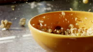 SLOW MOTION CLOSE UP: Whole grain cereal falling into bowl video