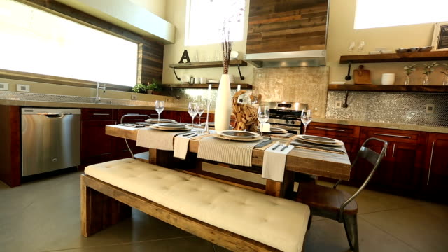 Wide Angle Dining Room Table in Kitchen Background video