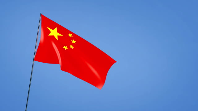 wide angle of china flag blue sky video