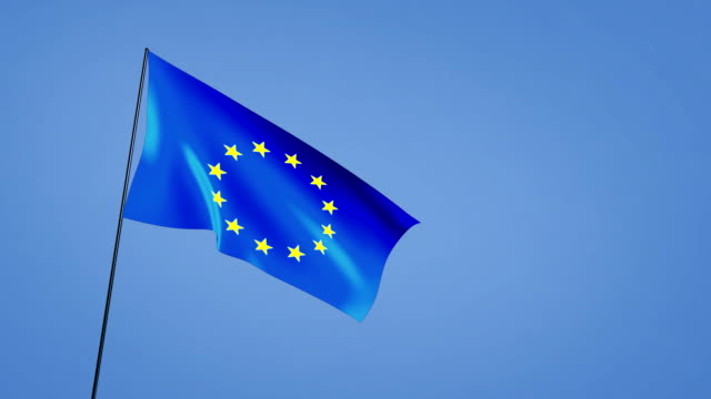 wide angle of euro flag blue sky video