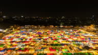 Wide angle view of Colorful Night market video