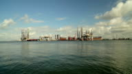wide angle view of oil platforms video