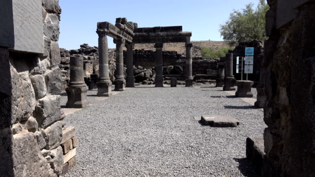 Wide Angle View of Pillars and Rubble of Old Temple video