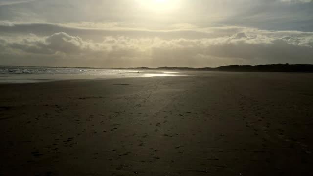 Wide Expanse of Empty, Sandy Beach Under a Glaring Sun video