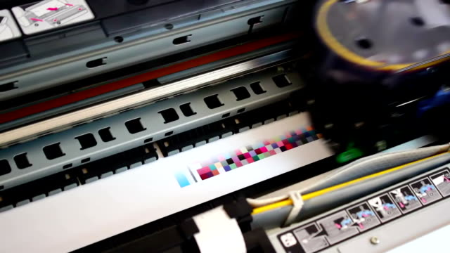 Wide format digital printer, plotter in Action. video