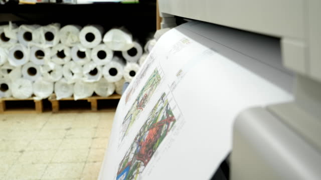Wide format printer prints and cuts draft drawing video