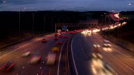 Wide of a motorway timelapse at night video